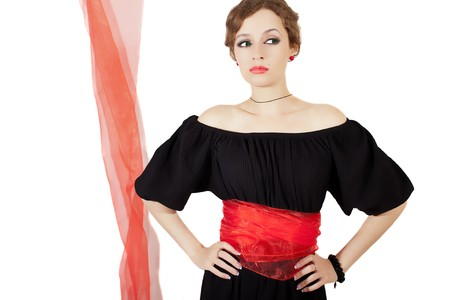 sash: woman in black dress with red sash on white background