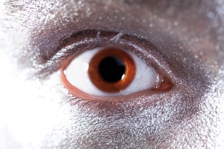 dilated pupils: brown male eyes with dilated pupil closeup