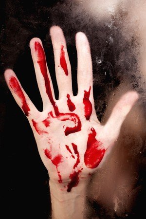 Human hand with blood closeup Stock Photo - 7754239
