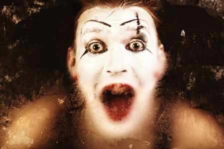 Scary face screaming mime for murky glass Imagens - 7872038