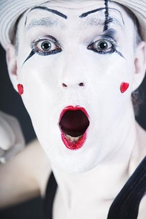 face of a screaming mime closeup photo