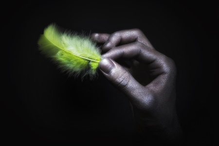 strong light: male hands in silver paint holding light green feather