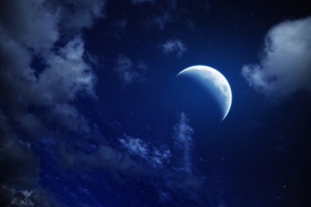 moon and stars in a cloudy night blue sky Stock Photo - 8810562