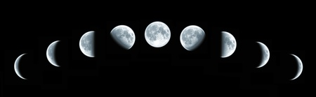 Nine phases of the full growth cycle of the moon isolated on black background