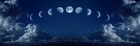 on cloud nine: Nine phases of the full growth cycle of the moon isolated in the night sky with clouds
