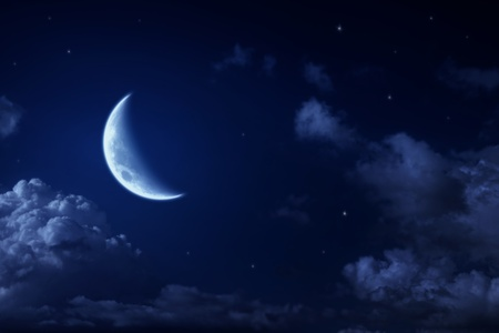 night moon: Big moon and stars in a cloudy night blue sky. fantastic beautiful landscape