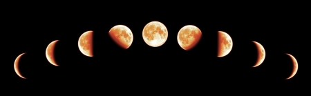 eclipse: Nine phases of the full growth cycle of the red moon isolated on black background