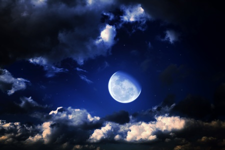 moon and stars in a cloudy night blue sky Stock Photo - 8905241