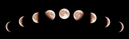 Negen fasen van de volledige groeicyclus van de maan geïsoleerd op zwarte achtergrond