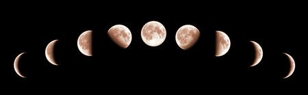 penumbra: Nine phases of the full growth cycle of the moon isolated on black background