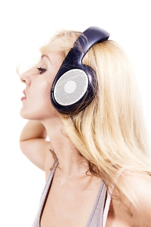 young woman with headphones isolated on white background Stock Photo - 8999036