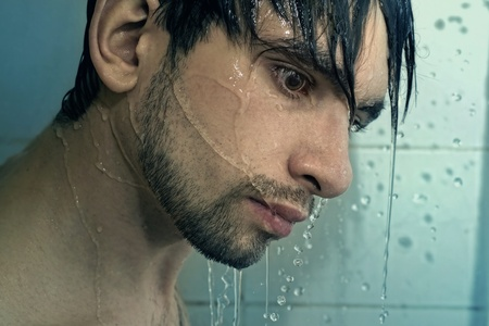 Portrait of The young man Take over shower Stock Photo - 9227690