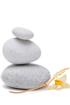Spa stenen met droge bloem Jonquille geïsoleerd op een witte achtergrond close-up