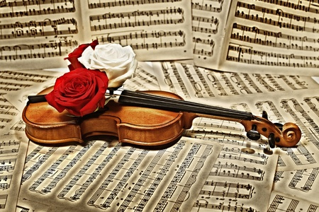 old violin with musical notes and roses closeup photo