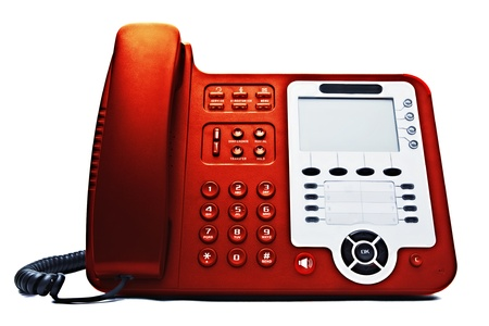 phone button: red IP phone closeup isolated on white background Stock Photo