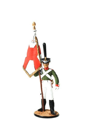 green plastic soldiers: Tin little soldier. Russian bearer since the War of 1812 Stock Photo