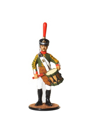 Tin Soldier. Russian military drummer in the uniform of the War of 1812