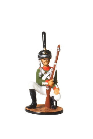 Tin Soldier. Russian soldier with a gun in his uniform during the war in 1812 photo