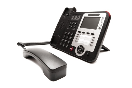 fekete telefon vértes elszigetelt fehér háttér Stock fotó