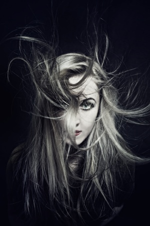 woman with hair fluttering in wind closeup Stock Photo - 10271414