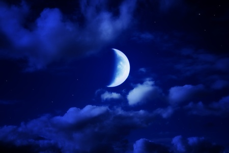 night beautiful blue sky with cumulus clouds, moon and stars photo