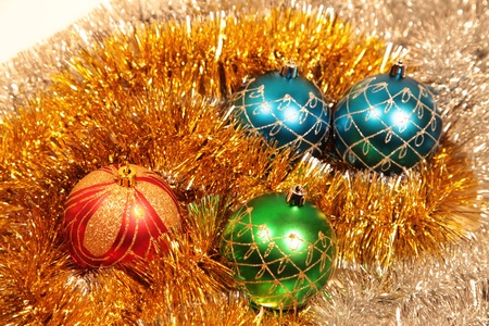 Blue, red and green christmas-tree decorations close up Stock Photo - 11534717