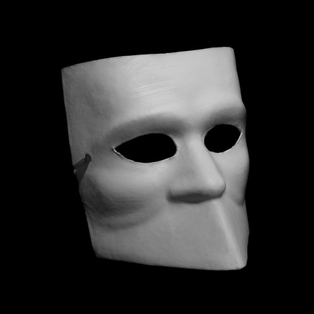 White classic commedia dell'arte mask isolated on black background photo