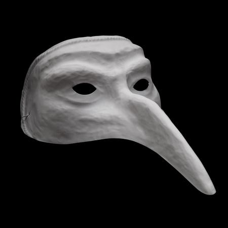 White dellarte mask isolated on black background close up photo