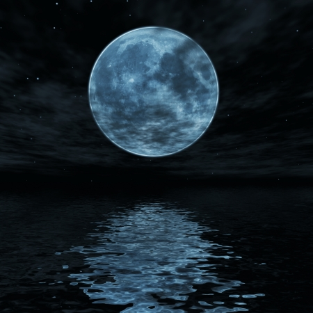 Big blue moon reflected in water wavy surface photo