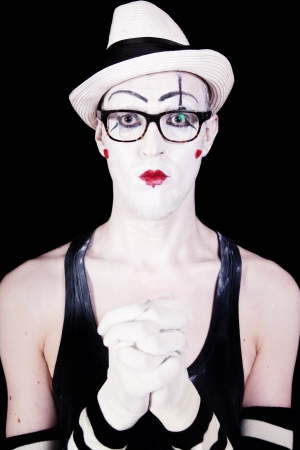 Portrait of the mime theater glasses on a black background photo