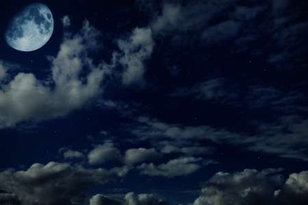 Night blue cloudy sky with stars and a moon crescent-shaped Stock Photo - 15523762