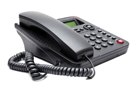 black phone isolated on white background closeup Stock Photo - 17359467