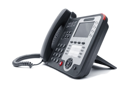 Black IP phone close up isolated on white background photo