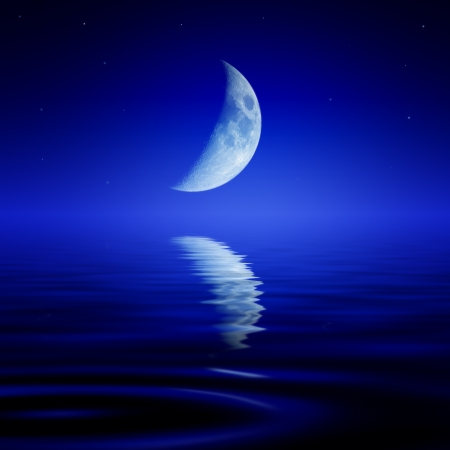 The moon is reflected in a wavy water