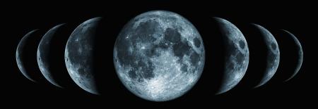 noche y luna: Siete fases de la luna cambia