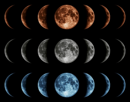 Seven phases of the moon isolated on black background. Gray, blue, red Standard-Bild