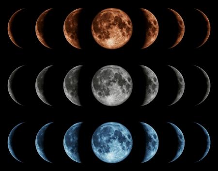 Zeven fasen van de maan geïsoleerd op zwarte achtergrond. Grijs, blauw, rood