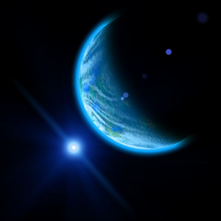 Planet and blue bright star in space photo