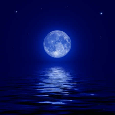 Full moon and stars reflected in the water surface  illustration