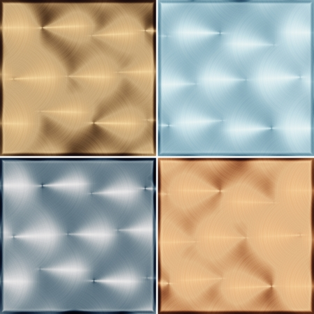 nickle: Four metal tile isolated on a white background  illustration