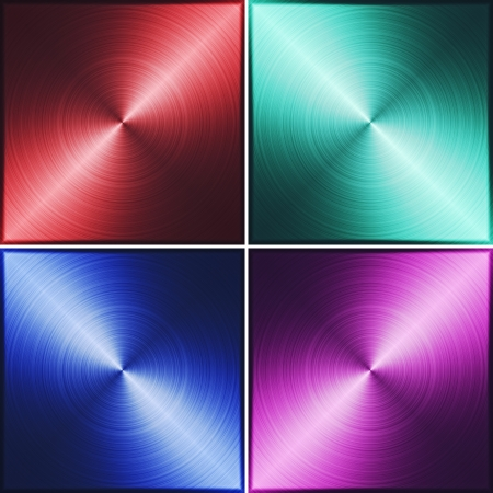Four metal tiles  Red, green, blue and purple  illustration texture Stock Illustration - 18877125