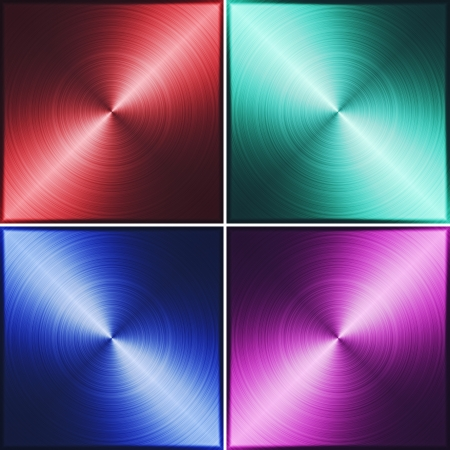 nickle: Four metal tiles. Red, green, blue and purple. illustration texture