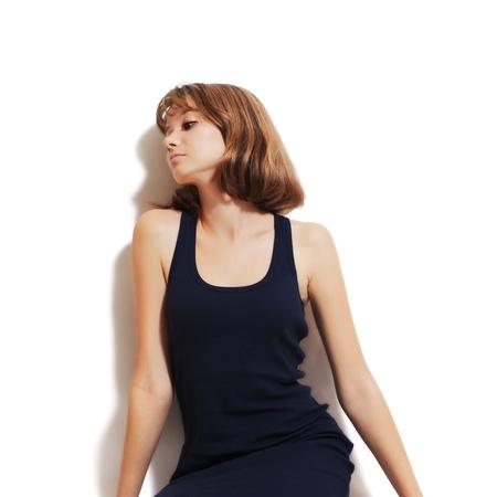 horizontal haircut: Studio portrait of a beautiful young woman  on white background Stock Photo