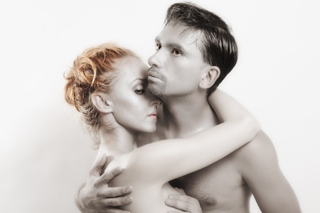 Portrait of Two embracing lovers with silver make-up Stock Photo - 20678115