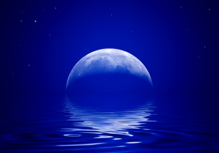 The moon is reflected in a wavy water Stock Photo - 23423311