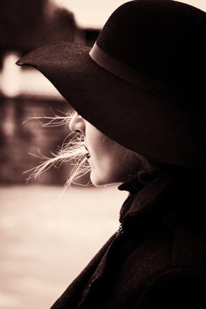 Portrait of young woman in autumn hat. Retro Style Stock Photo - 27002282