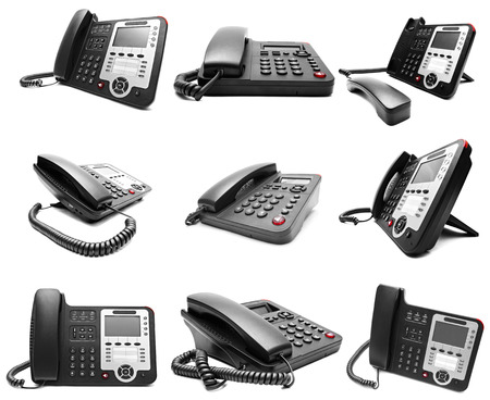 phone cord: Set of Black IP office phone isolated on white background