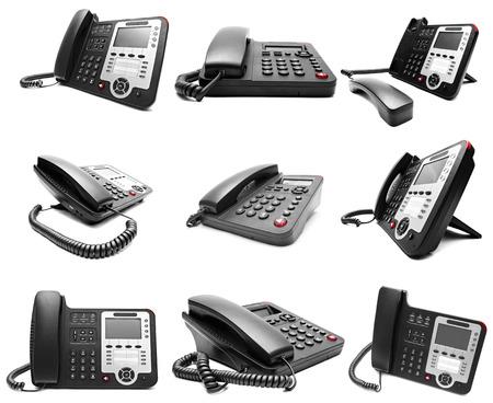 Set van Black IP kantoor telefoon geïsoleerd op witte achtergrond Stockfoto