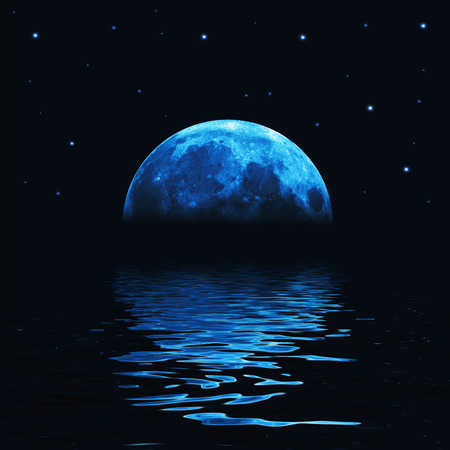Big blue moon reflected in water wavy surface Standard-Bild