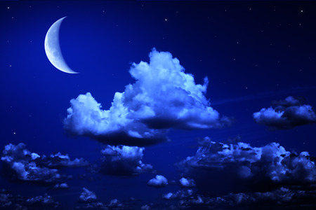 stars sky: Big moon and stars in a cloudy night blue sky. fantastic beautiful landscape